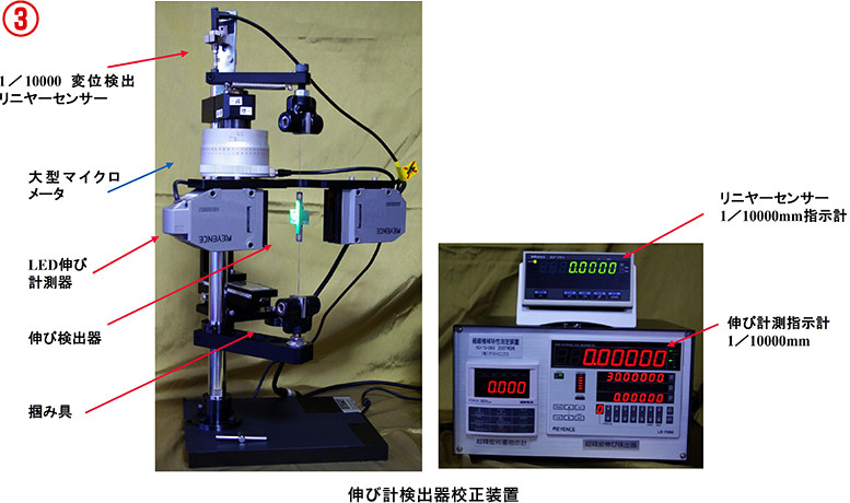 極細線伸び計測試験治具(既設試験装置に取付可能)